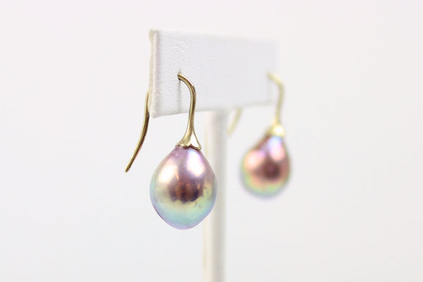 metallic luster rainbow fruiting pearl earrings