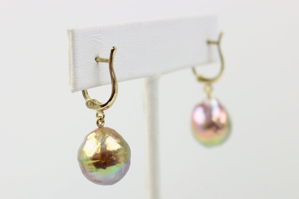 metallic luster green rainbow pearl earrings
