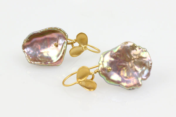 fresh fruiting metallic keshi pearl earrings
