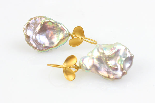 light rainbow metallic keshi pearl fruiting earrings