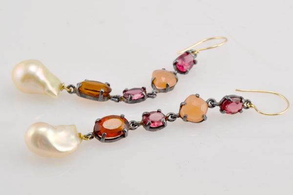 winter warmth wine and pearl earrings
