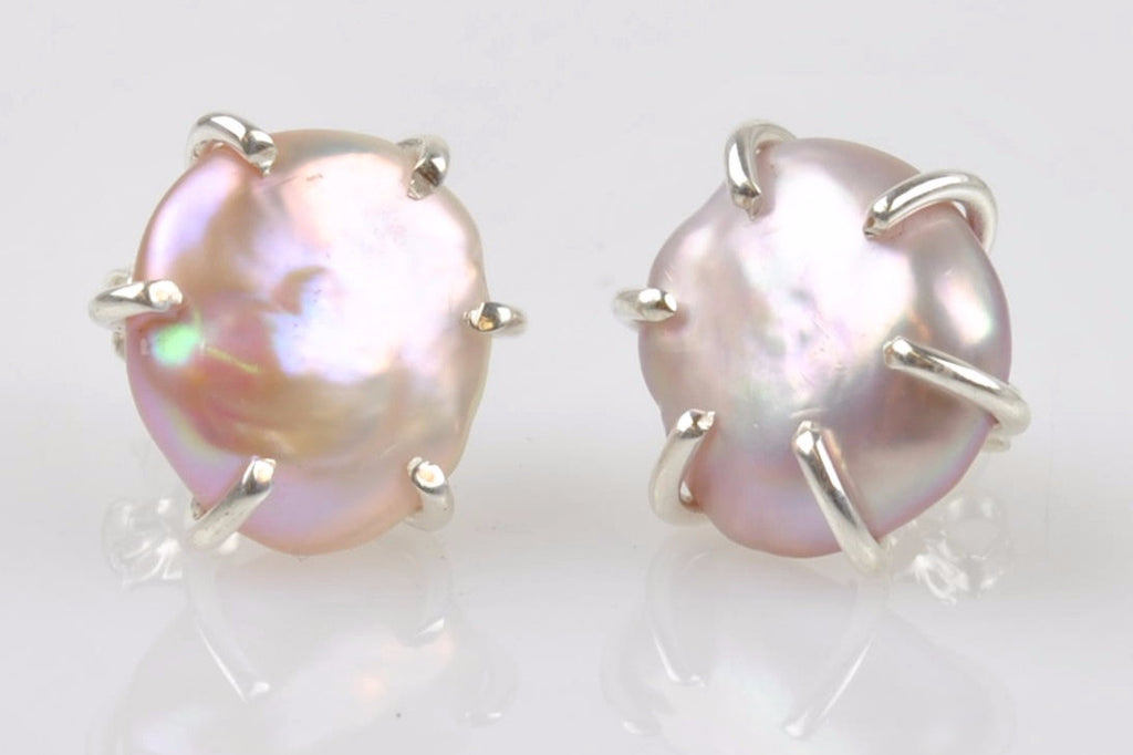 pools of light pink keshi stud earrings