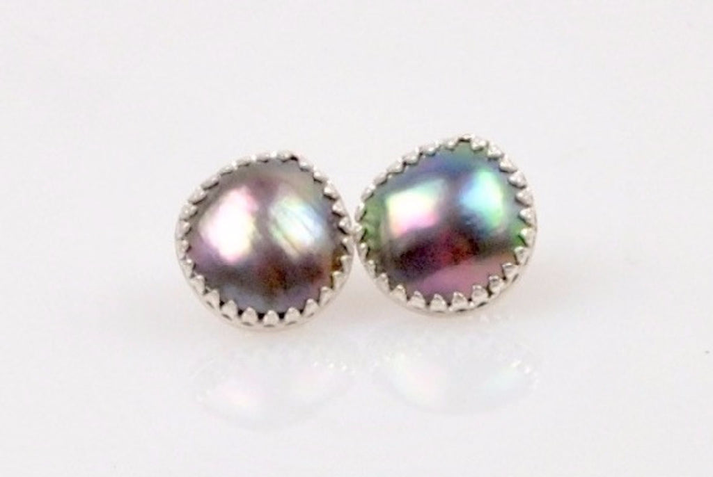 deep blue rainbow sea of cortez mabe pearl studs