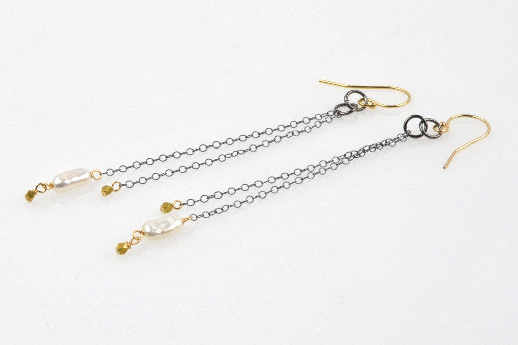 pearl and swinging chain earrings