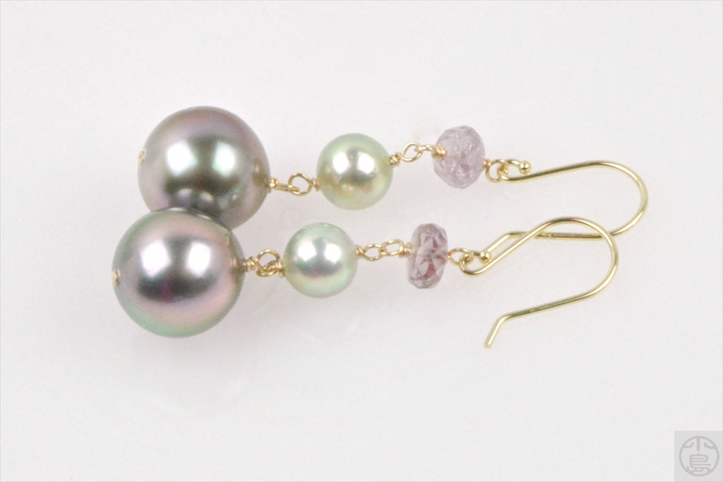 antique glow tahitian and akoya pearl earrings