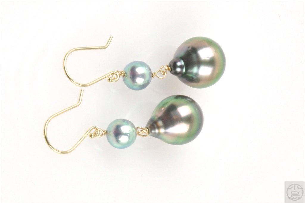 rainbow tahitian pearl and blue akoya dangle earrings