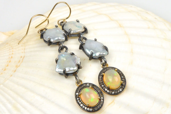 petal pearl and opal bauble earrings