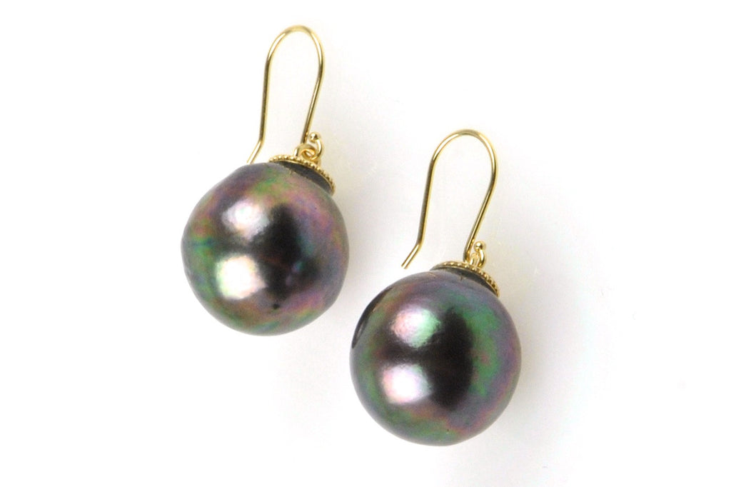massive dark rainbow tahitian pearl earrings