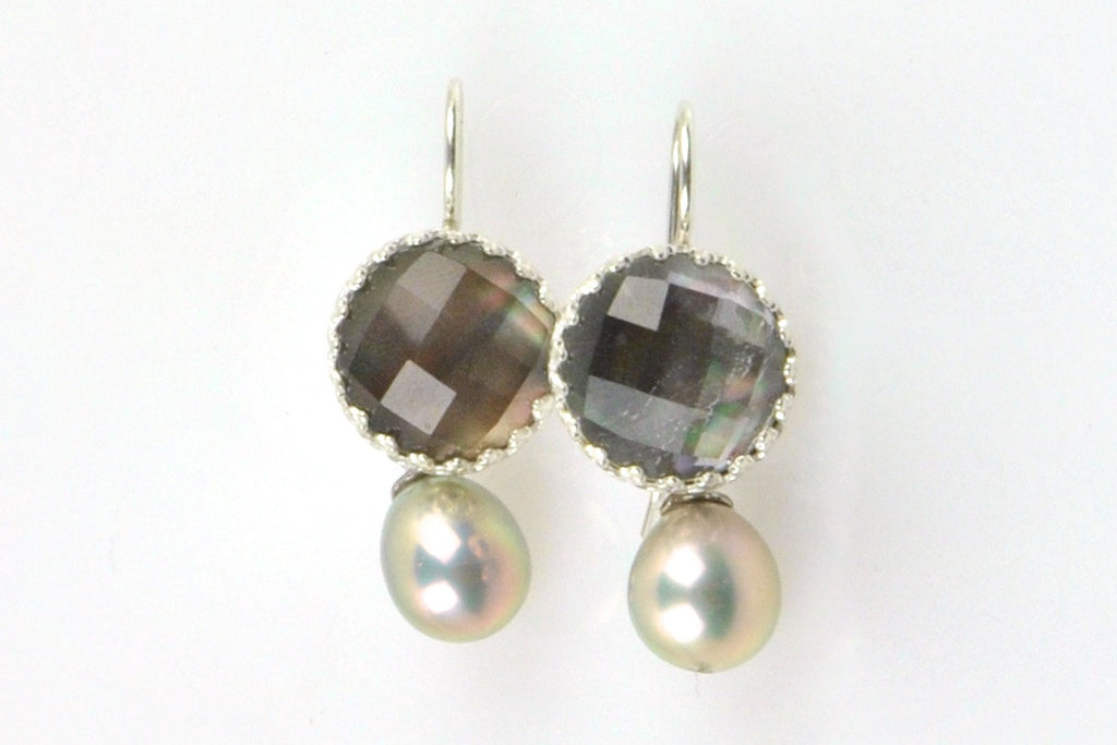 shell crystal and dyed pearl earrings