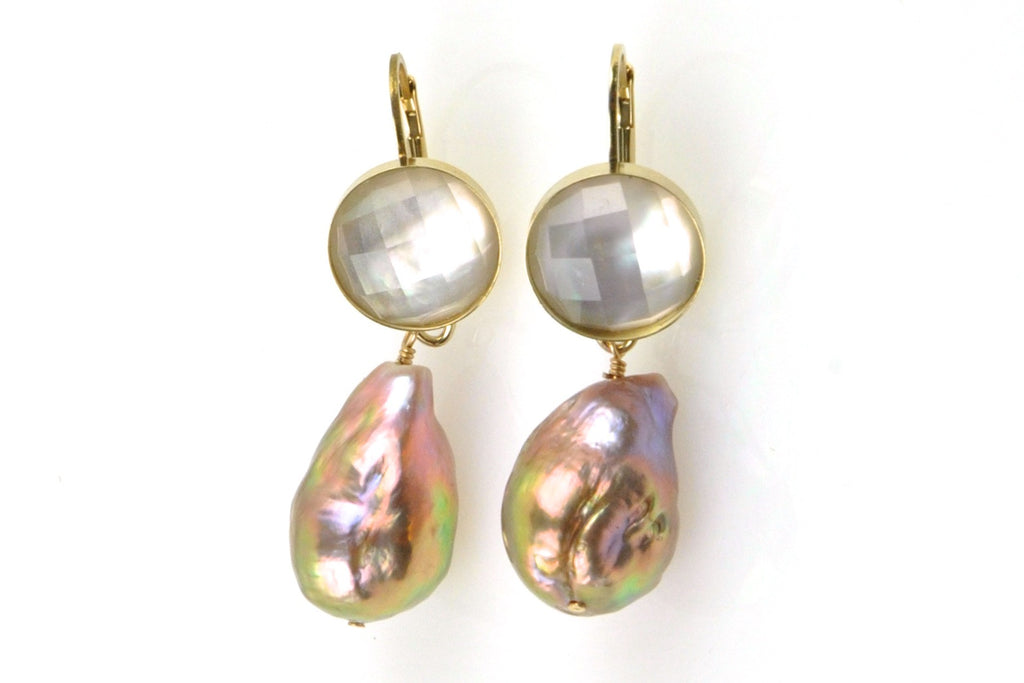 shell crystal and baroque pearl drop earrings