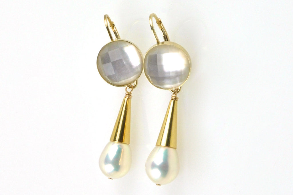 shell crystal and vermeil cone pearl earrings