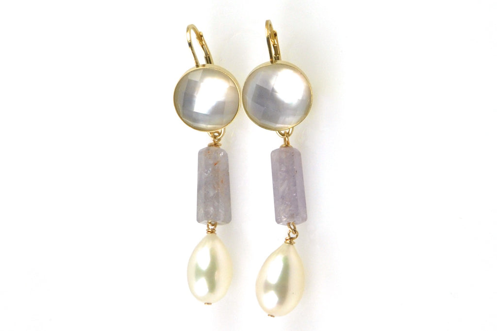 shell crystal, sapphire bead, and pearl earrings