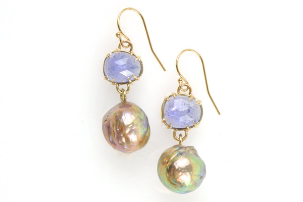 14k gold tanzanite with japan kasumi pearl drop earrings