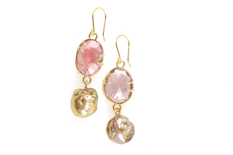 14k pink tourmaline with japan kasumi pearl drop earrings