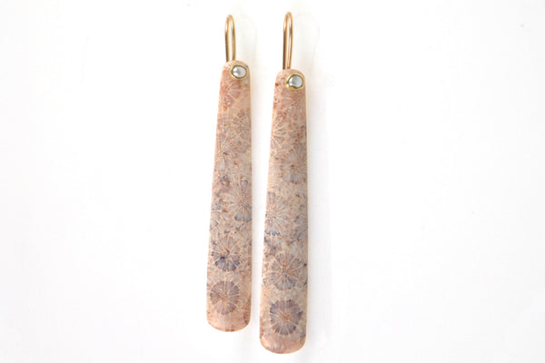 rosy fossilized coral and pearl earrings