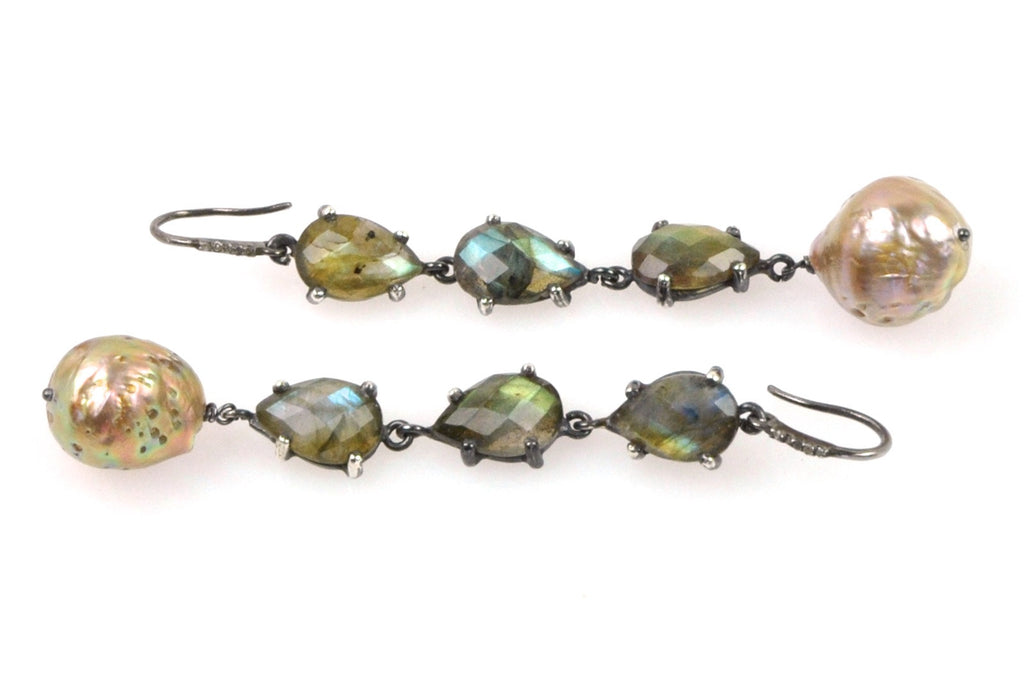 diamond, labradorite and japan kasumi pearl earrings