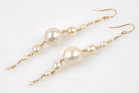 long snow drop pearl earrings