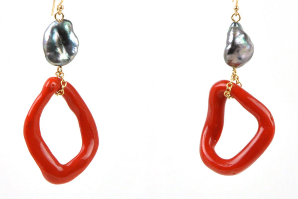 tahitian keshi and italian coral earrings