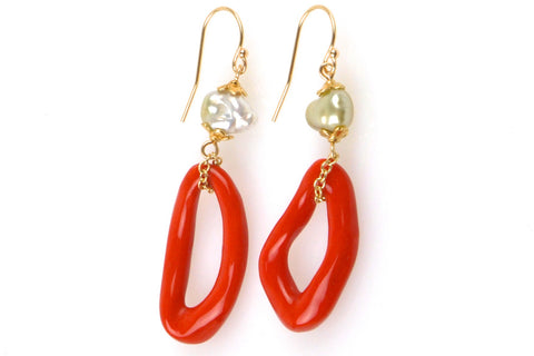 golden tahitian keshi and italian coral earrings