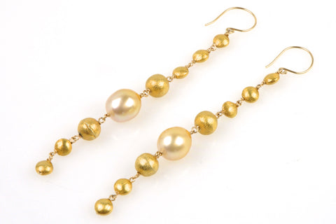 golden cascade south sea pearl earrings