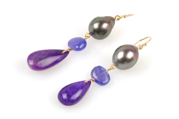 deep purple gem and tahitian pearl earrings