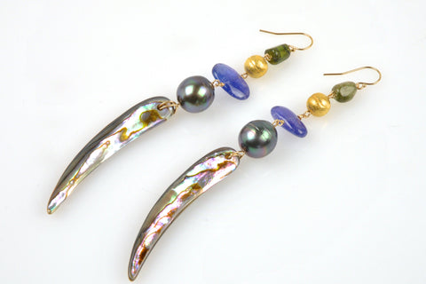tahitian pearl, bead, and shell spike earrings