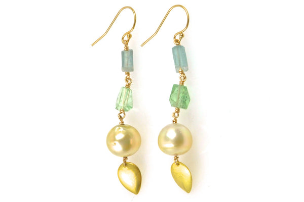 faceted crystal and golden south sea pearl earrings