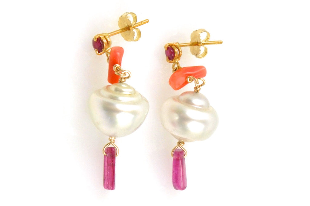 ruby, coral, tourmaline, and south sea pearl earrings