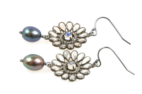 topaz daisy and dyed peacock pearl earrings