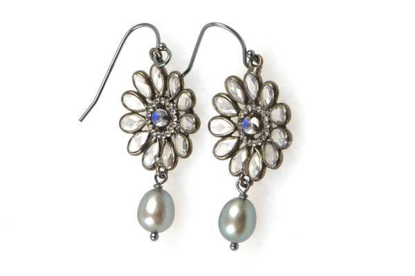 topaz daisy and dyed grey pearl earrings