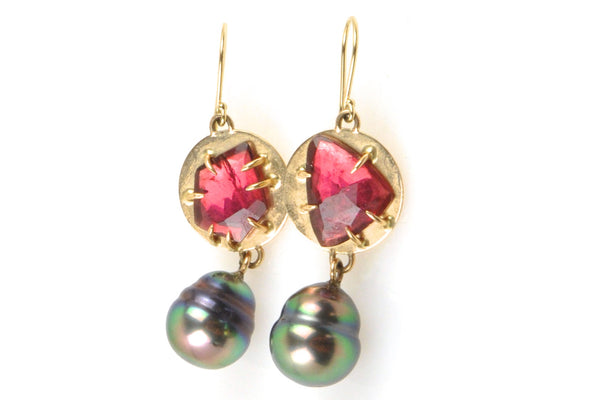 faceted tourmaline and banded tahitian pearl earrings