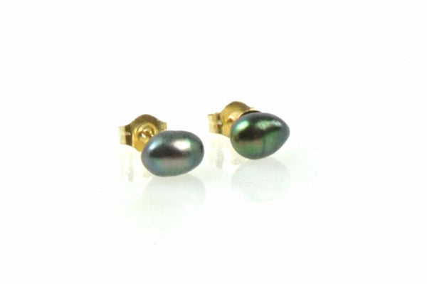 teeny tiny tahitian keshi black pearl stud earrings