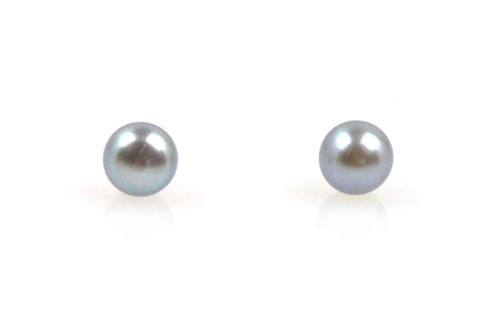 tiny dyed deep silver pearl stud earrings