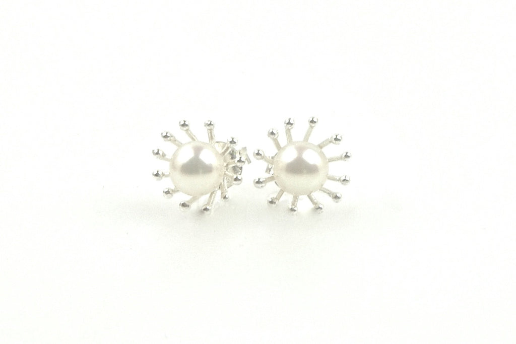 starburst pearl stud earrings
