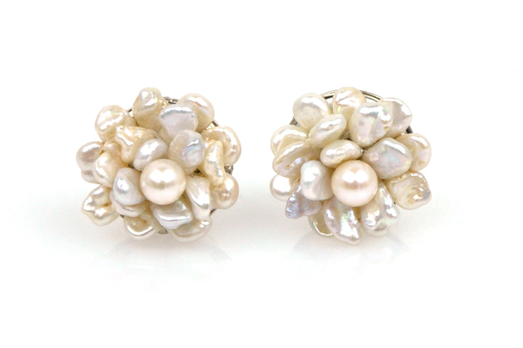 pearl cluster blossom stud earrings