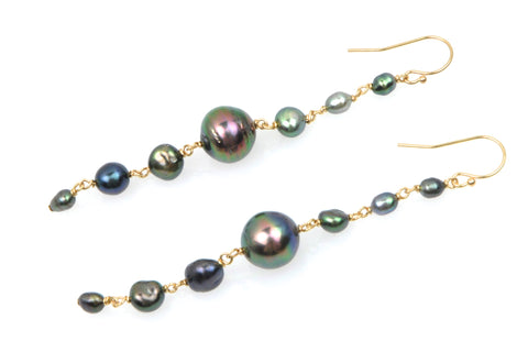 deep color tahitian pearl earrings