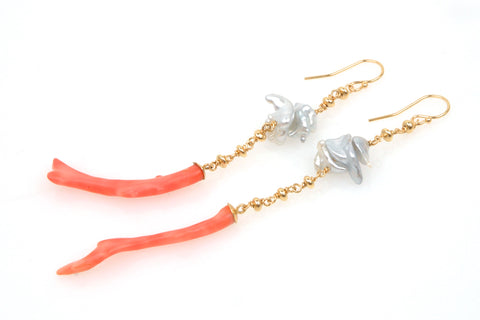 south sea pearl and vintage coral earrings