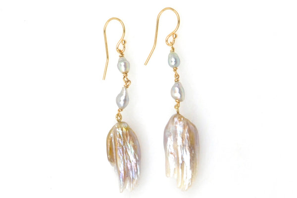 japan akoya and feather pearl earrings