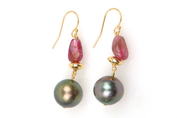 pink tourmaline and tahitian earrings