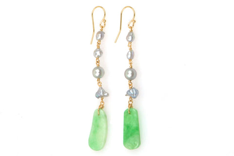 japan akoya pearl and jade earrings