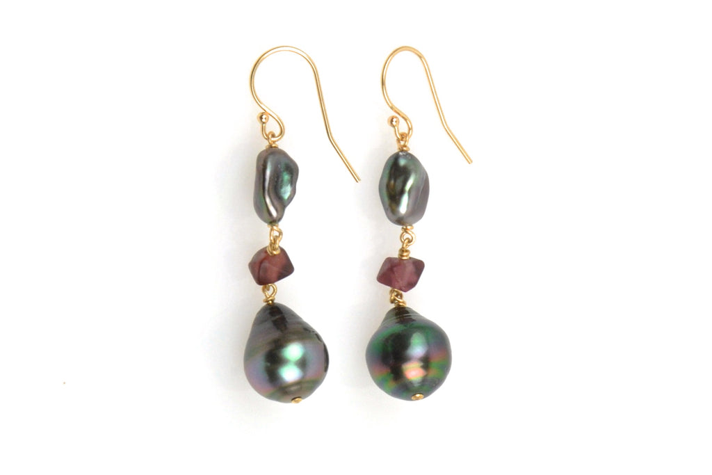 wineberry tahitian pearl earrings