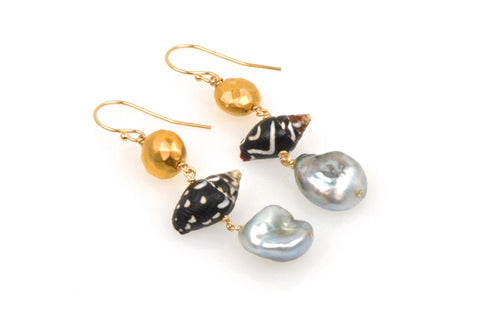 archipelago pearl and shell earrings