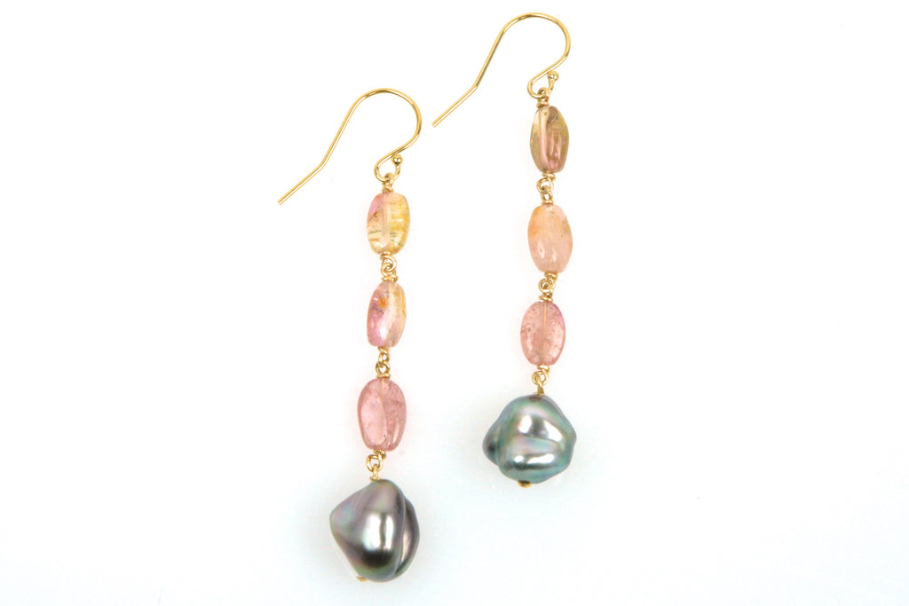 watermelon tourmaline and tahitian keshi pearl earrings