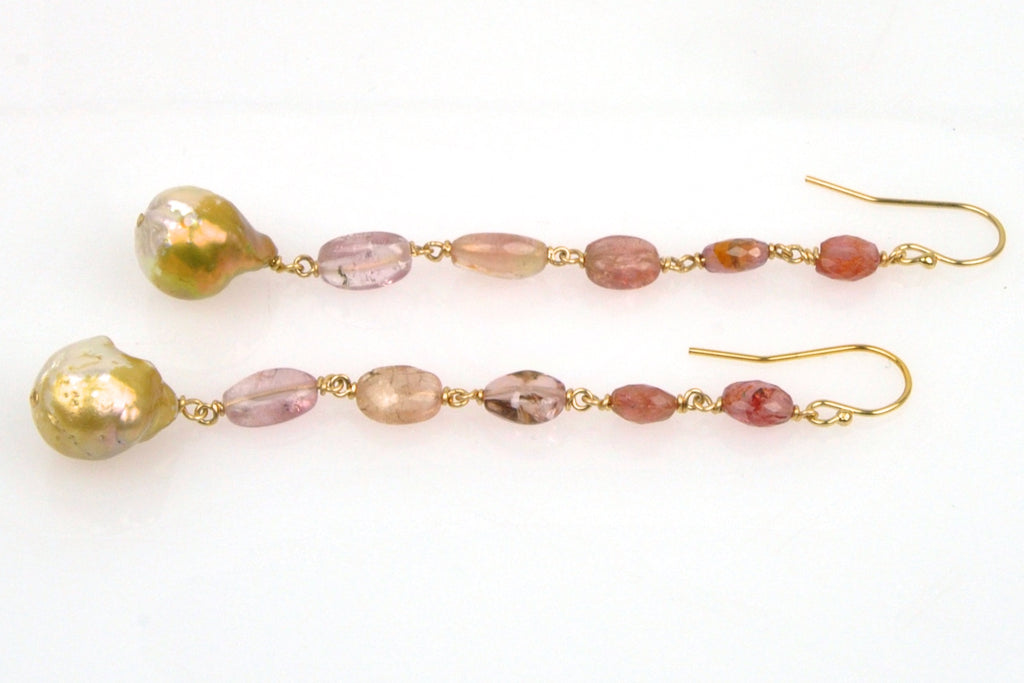 long tourmaline bead and golden baroque drop earrings