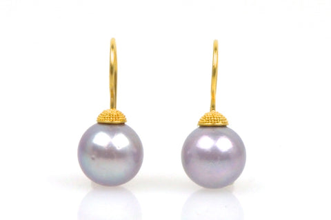 deep lavender pearl earrings