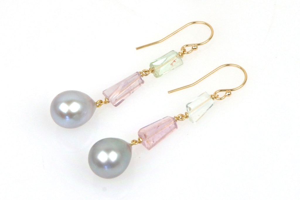 tourmaline crystal and silver teardrop pearl earrings