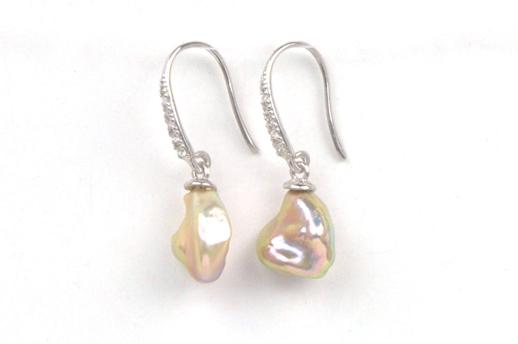 metallic pearl and diamond earrings