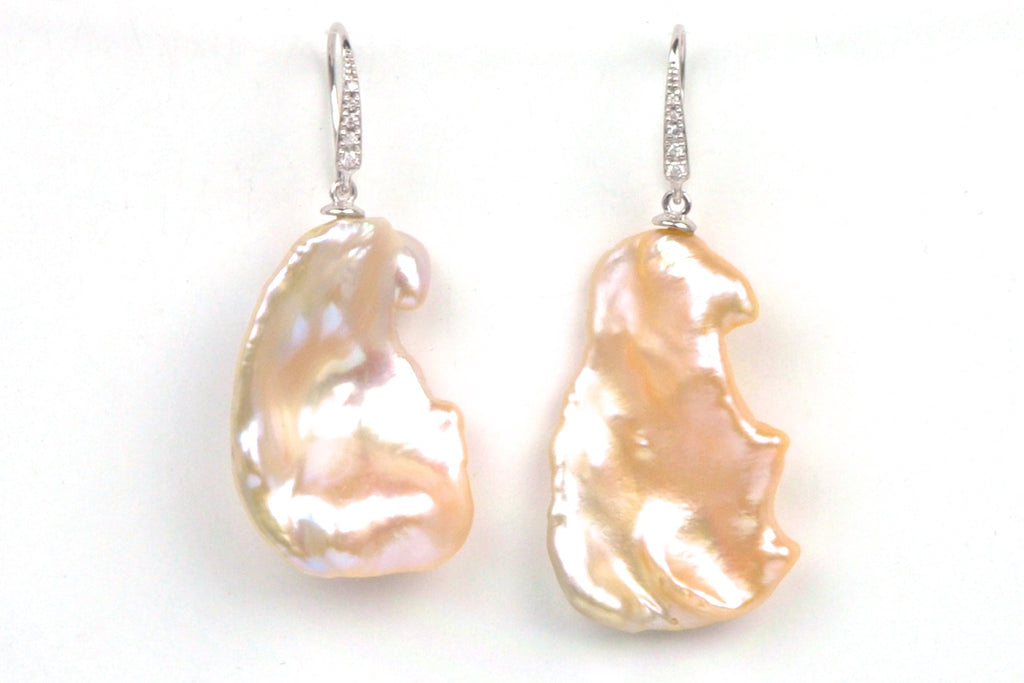 huge baroque pearl and diamond earrings
