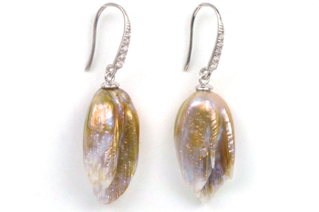 feather pearl and diamond earrings