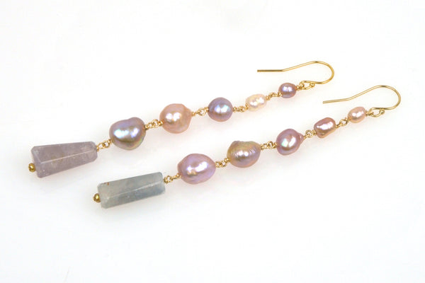 japan kasumi keshi and sapphire crystal earrings